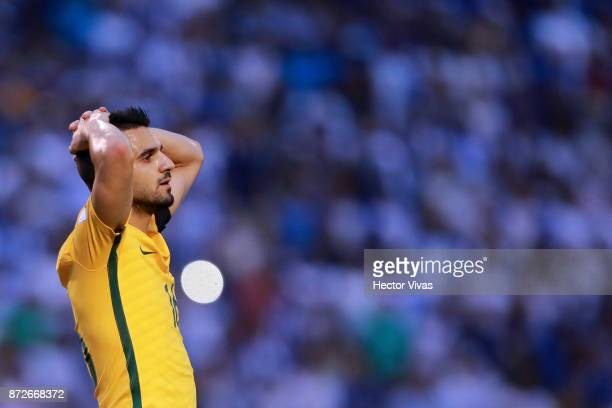 Aziz Behich of Australia reacts during a first leg match between Honduras and Australia as part of FIFA World Cup Qualifiers Play Off at Estadio...