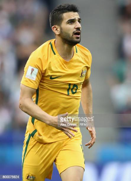 Aziz Behich of Australia reacts during the FIFA Confederations Cup Russia 2017 Group B match between Australia and Germany at Fisht Olympic Stadium...