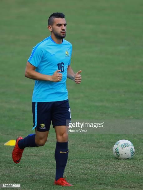 Aziz Behich of Australia runs during a training session ahead of the leg 1 of FIFA World Cup Qualifier Playoff against Honduras at Estadio Olimpico...