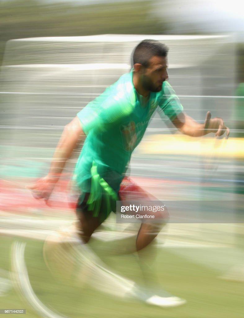 Aziz Behich of Australia runs during the Australian Socceroos Training Session at the Gloria Football Club on June 4, 2018 in Antalya, Turkey.