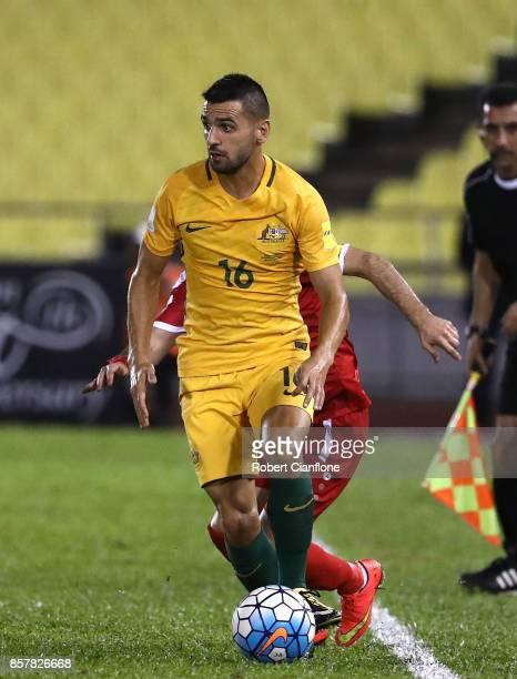 Aziz Behich of Australia runs with the ball during the 2018 FIFA World Cup Asian Playoff match between Syria and the Australia Socceroos at Hang...