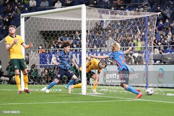 Aziz Behich of Australia scores an own goal during the FIFA World Cup Asian qualifier final round Group B match between Japan and Australia at...