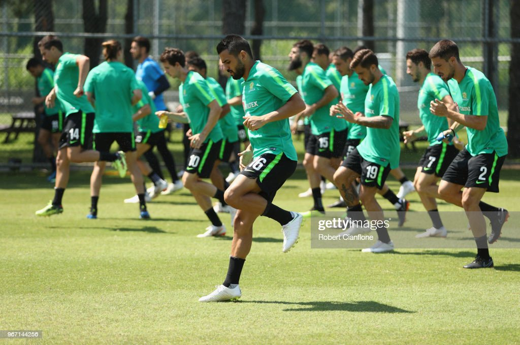 Aziz Behich of Australia warms up during the Australian Socceroos Training Session at the Gloria Football Club on June 4, 2018 in Antalya, Turkey.