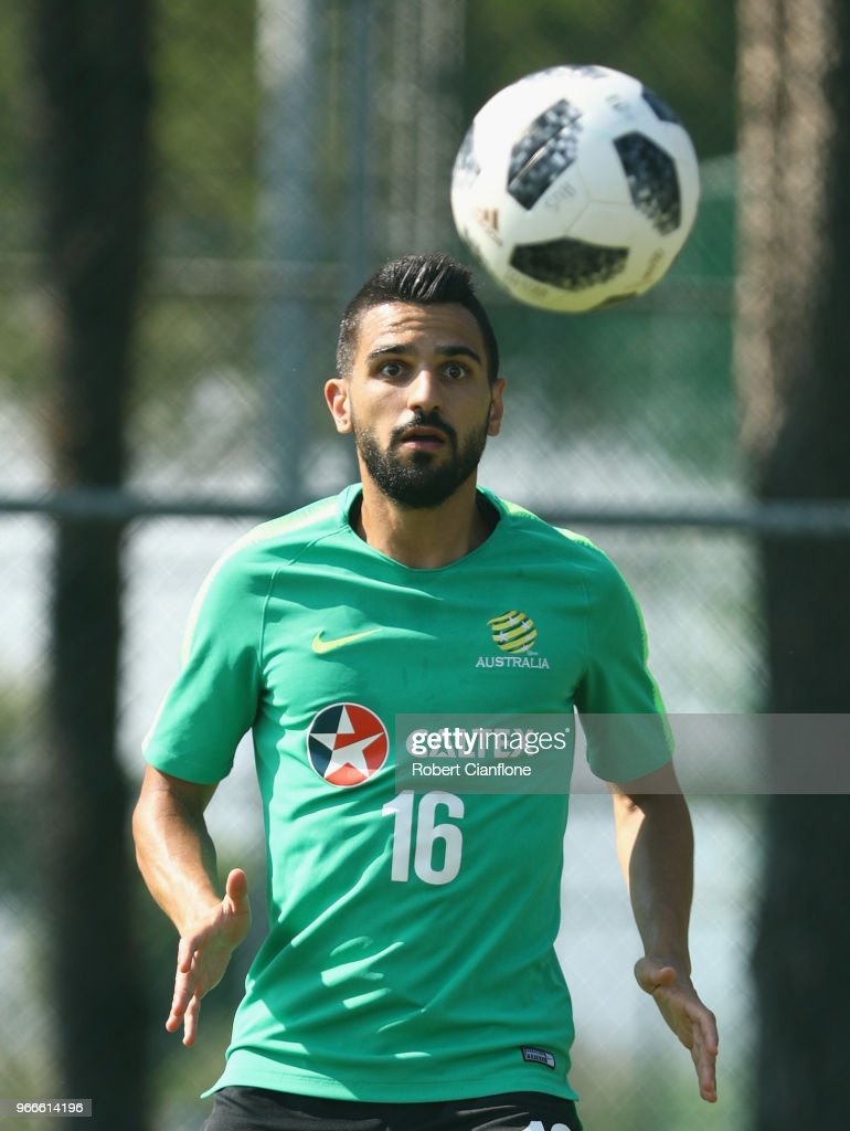 Aziz Behich of Australia watches the ball during the Australian Socceroos Training Session at the Gloria Football Club on June 3, 2018 in Antalya, Turkey.