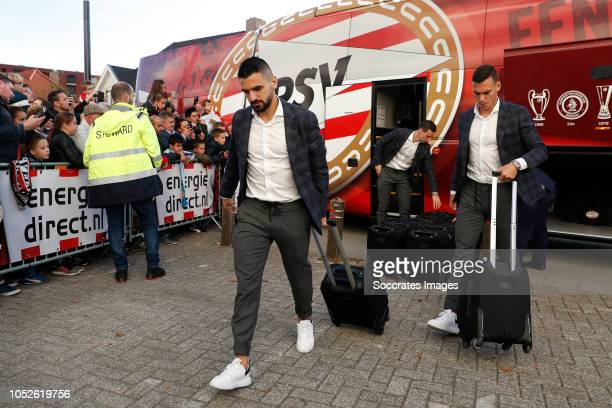 Aziz Behich of PSV Trent Sainsbury of PSV arrives with the players bus during the Dutch Eredivisie match between PSV v FC Emmen at the Philips...