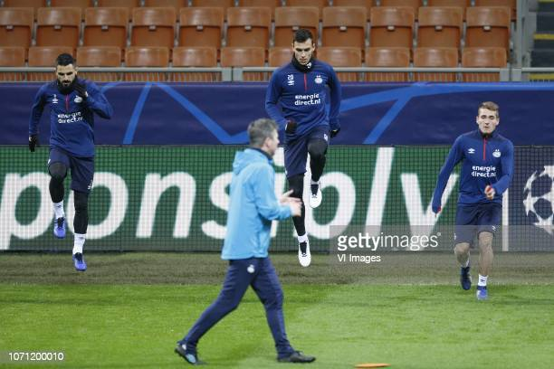 Aziz Behich of PSV Trent Sainsbury of PSV Michal Sadilek of PSV during a training session prior to the UEFA Champions League group B match between...