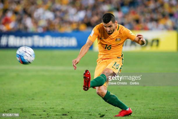 Aziz Behich of the Australia crosses the ball during the 2nd leg of the 2018 FIFA World Cup Qualifier between the Australia and Honduras at Stadium...