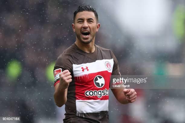 Aziz Bouhaddouz of Hamburg celebrate the first goal during the Second Bundesliga match between FC St. Pauli and Holstein Kiel at Millerntor Stadium...