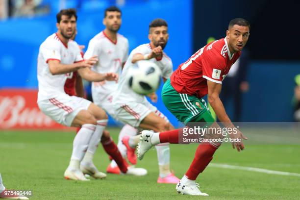 Aziz Bouhaddouz of Morocco in action during the 2018 FIFA World Cup Russia Group B match between Morocco and Iran at Saint Petersburg Stadium on June...