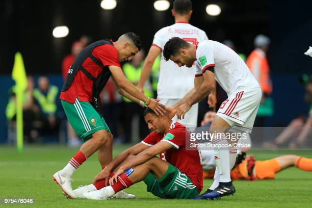 Aziz Bouhaddouz of Morocco looks dejected at the end of the 2018 FIFA World Cup Russia Group B match between Morocco and Iran at Saint Petersburg...