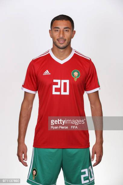 Aziz Bouhaddouz of Morocco poses during the official FIFA World Cup 2018 portrait session on June 10 2018 in Voronezh Russia