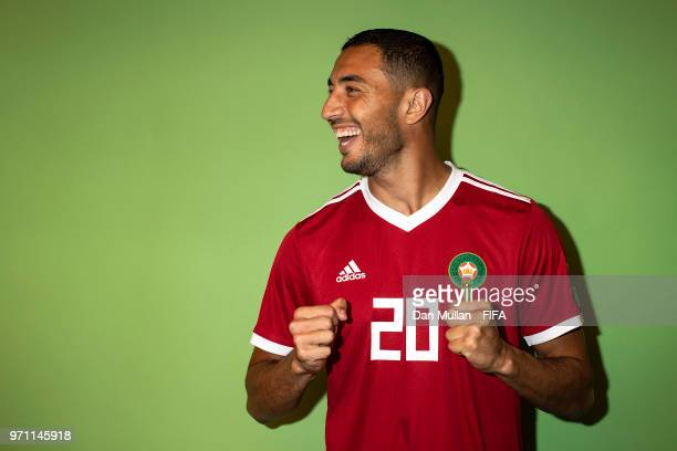 Aziz Bouhaddouz of Morocco poses for a portrait during the official FIFA World Cup 2018 portrait session at on June 10, 2018 in Voronezh, Russia.