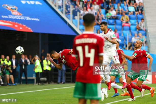 Aziz Bouhaddouz of Morocco scores an own goal to make it 0-1 during the 2018 FIFA World Cup Russia group B match between Morocco and Iran at Saint...