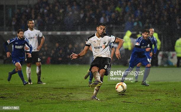 Aziz Bouhaddouz of Sandhausen scores his team's second goal by penalty during the Second Bundesliga match between SV Sandhausen and Karlsruher SC at...