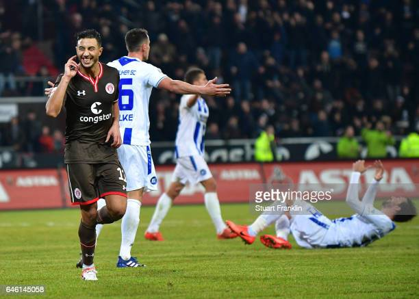 Aziz Bouhaddouz of St. Pauli celebrates scoring the fifth goal during the Second Bundesliga match between FC St. Pauli and Karlsruher SC at...