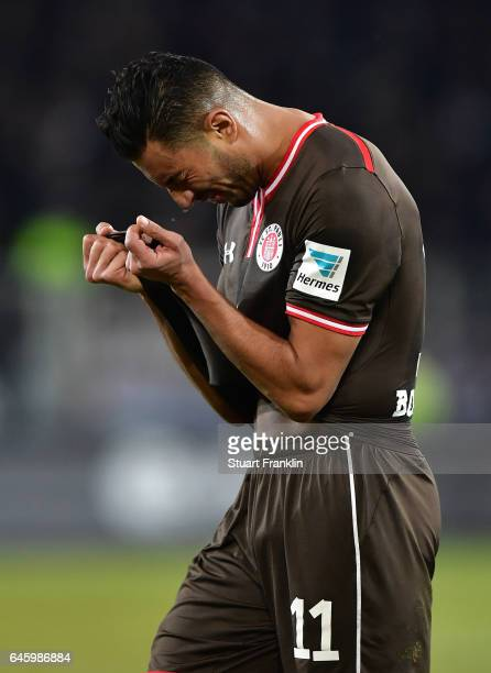 Aziz Bouhaddouz of St Pauli reacts during the Second Bundesliga match between FC St Pauli and Karlsruher SC at Millerntor Stadium on February 27 2017...