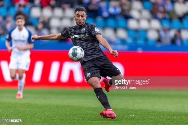 Aziz Bouhaddouz of SV Sandhausen controls the ball during the Second Bundesliga match between VfL Bochum 1848 and SV Sandhausen at Vonovia...