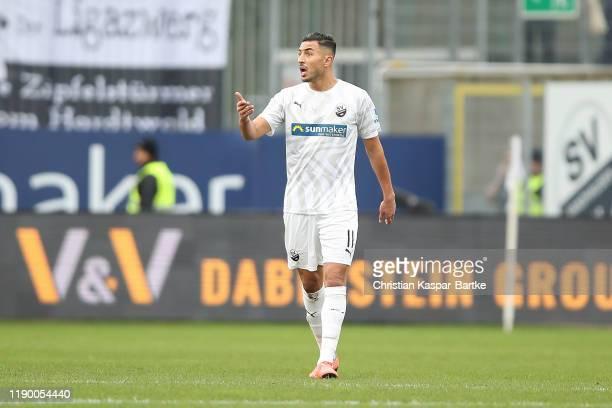Aziz Bouhaddouz of SV Sandhausen reacts during the Second Bundesliga match between SV Sandhausen and Holstein Kiel at BWT-Stadion am Hardtwald on...