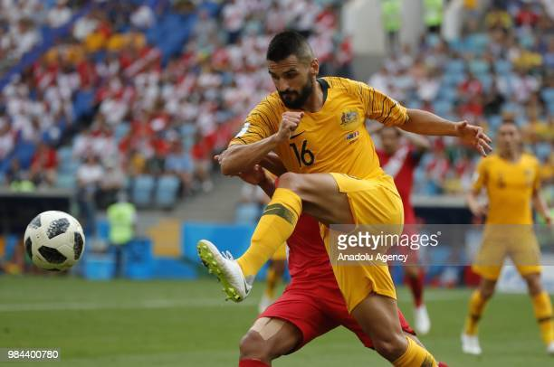 Aziz Eraltay of Australia in action against Luis Advincula of Peru during the 2018 FIFA World Cup Russia Group C match between Australia and Peru at...