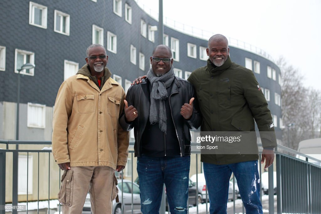 Aziz NDiaye, Bouna Ndiaye and Abdoulaye NDiaye during come to explain the project younus at Grigny, France on 7th February 2018