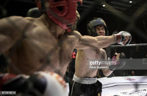 Aziz Zafari from the war torn province of Mydan Wardak fights during his first amateur event at the Snow Leopard Fighting Championship ring on May 18...