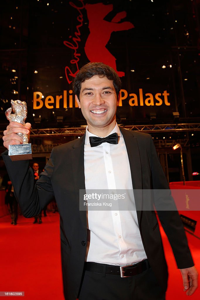Aziz Zhambakiyev holds the Silver Bear for an outstanding artistic achievement at the Closing Ceremony Red Carpet Arrivals - BMW At The 63rd Berlinale International Film Festival at Berlinale-Palast on February 16, 2013 in Berlin, Germany.