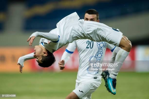 Azizjon Ganiev of Uzbekistan celebrates after scoring his goal during the AFC U23 Championship China 2018 Semifinals match between Uzbekistan and...