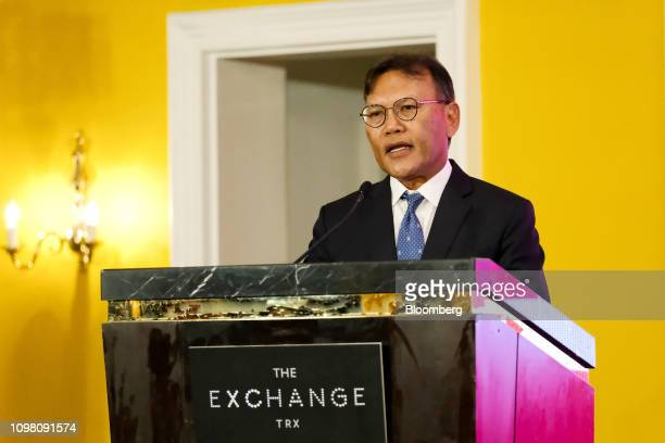 Azmar Talib chief executive officer of TRX City Sdn speaks during an event marking the launch of the Exchange TRX precinct in Kuala Lumpur Malaysia...
