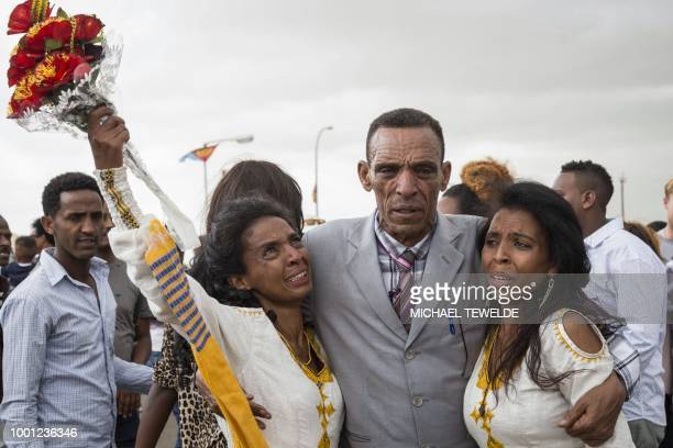 Azmera Addisalem and Danait Addisalem get emotional as they see again their father for the first time in twenty years upon his arrival at the Asmara...