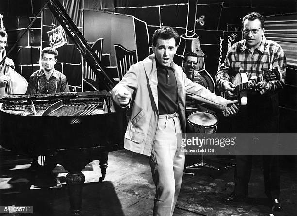 Aznavour Charles Singer songwriter actor France / Armenia * Scene from the movie 'Paris Music Hall'' with Nicole Berger Directed by Stany Cordier...
