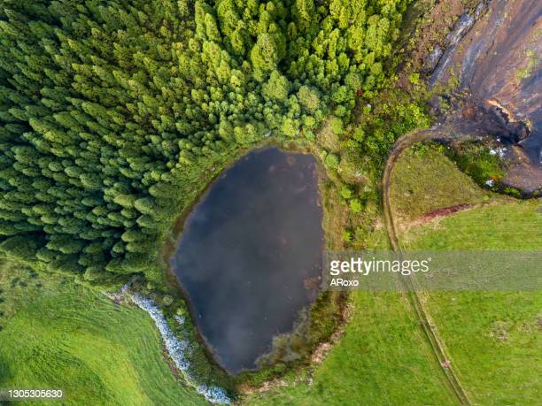 azores, european holiday travel destinations. drone aerial view of volcanic landscape. sao miguel island with amazing lagoons from above - atlantic islands stock pictures, royalty-free photos & images