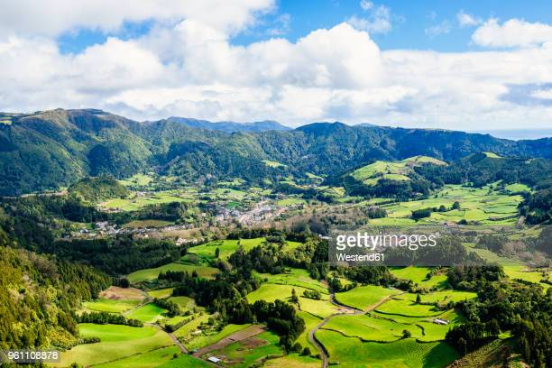azores, sao miguel, landscape of the city of furnas - azores stock photos and pictures