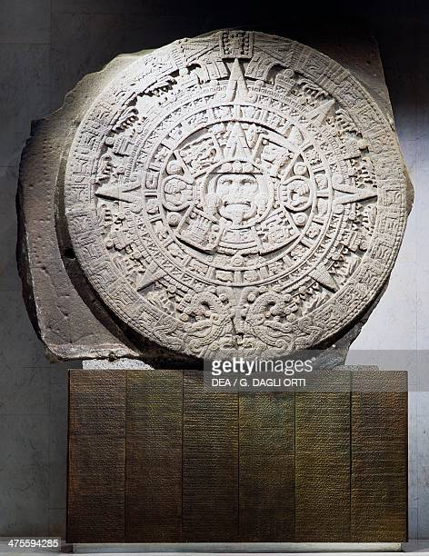 Aztec calendar or sun stone in basalt dating from the reign of Montezuma II Aztec civilisation 16th century Mexico City Museo Nacional De Antropología