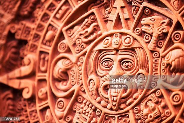aztec calendar stone of the sun - aztec civilization stock photos and pictures