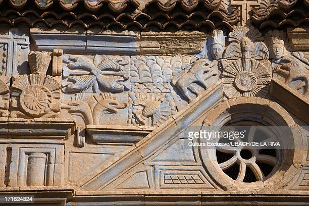 Aztec carvings on building, Spain, Canary Islands, Fuerteventura, Pajara, Fuerteventura, Canary Islands, Spain