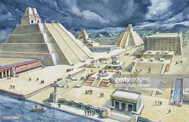 Aztec Civilization 15th century Mexico Reconstructed central Tenochtitlán square and Templo Mayor Color illustration