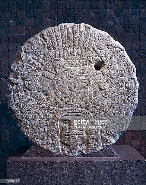 Aztec civilization Mexico 15th century AD Aztec calendar stone or Stone of the Sun Its proper name is Cuauhxicalli also a monument commemorating a...