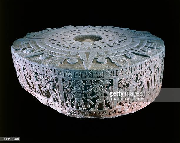 Aztec civilization Mexico 15th century Aztec calendar stone or Stone of the Sun Its proper name is 'Cuauhxicalli' also a monument commemorating a...