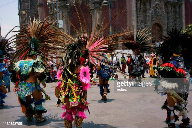 aztec dances, mexico city - tradition stock pictures, royalty-free photos & images
