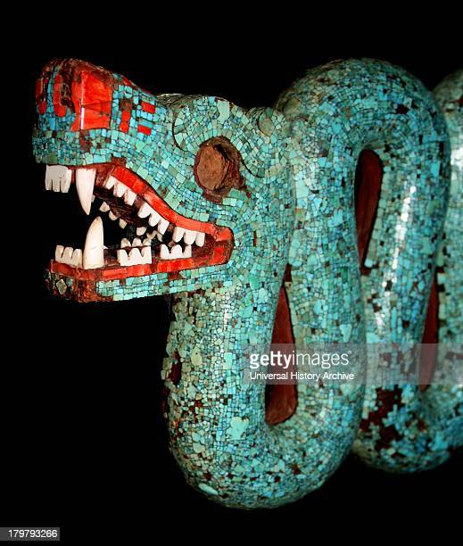 Aztec double headed serpent made from turquoise mosaic pieces and carved in wood 15th16th century AD Probably a ceremonial chest ornament