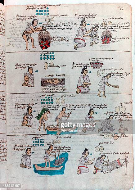 Aztec education of boys and girls Boys are shown being punished by a father who holds him over a fire of burning chillies while lecturing him...