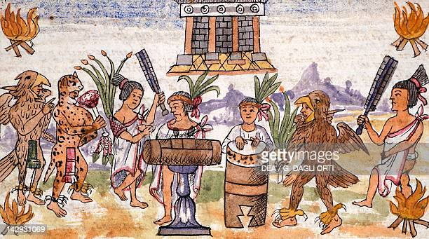 Aztec feast in an illustration taken from the History of the Indies by Diego Duran 1579 manuscript Aztec Civilization Madrid Biblioteca Nacional