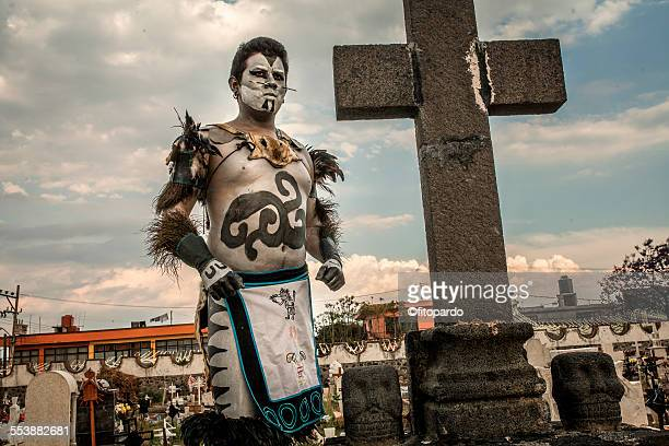 Aztec Man (real aztec) from Mixquic in a cemetery