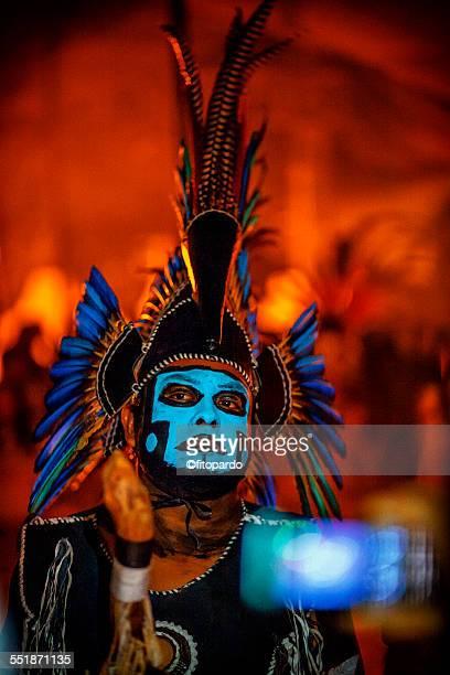 aztec man from mixquic - astecas imagens e fotografias de stock
