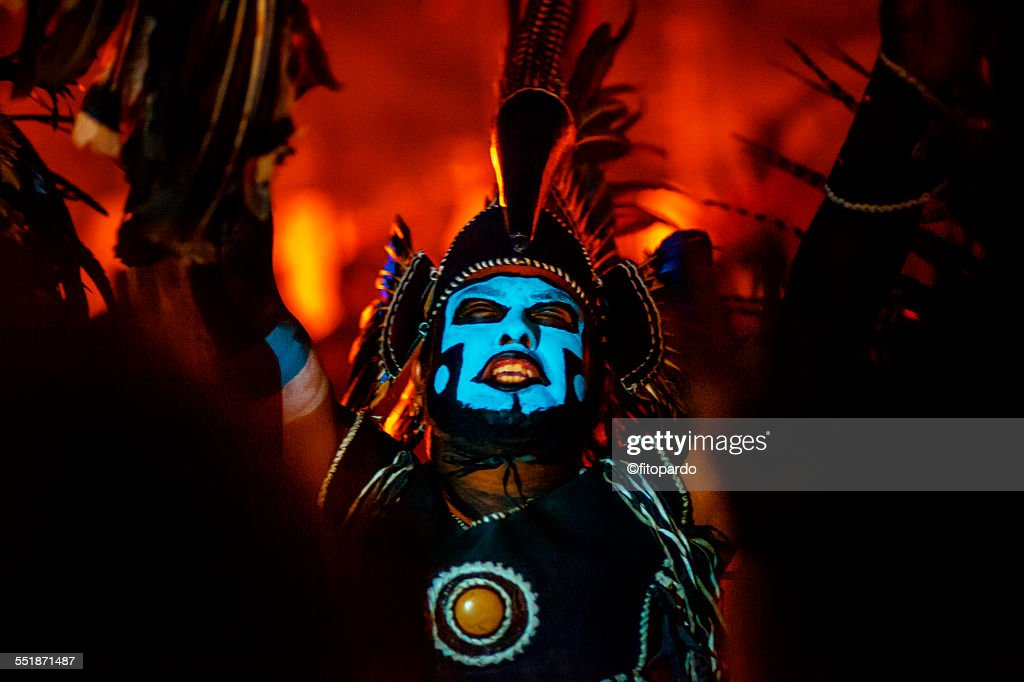 Each year in the day of the dead in Mixquic - Tlahuac, part of Mexico City, real Aztecs dance in the city centre, this are relatives from the Aztecs who ruled Mexico, this are the last Aztecs of Mexico and they dance for the God of the dead that night.