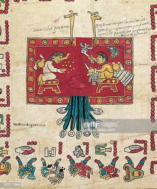 Aztec manuscript 16th century Invention of the calender From the Codex Borbonicus 15621563