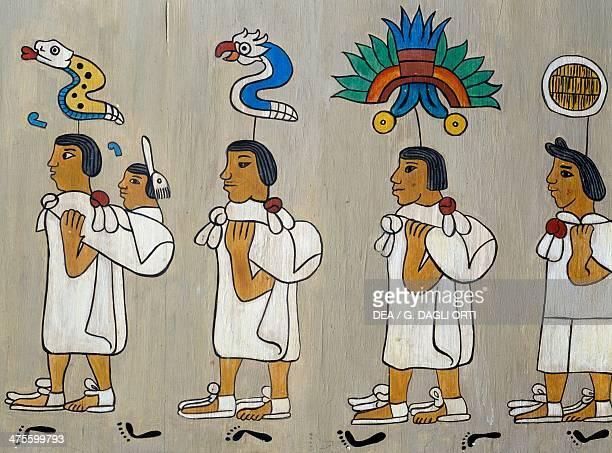 Aztec pilgrimage to the Valley of Mexico illustration Mexico 12th century Mexico City Museo De La Ciudad De México