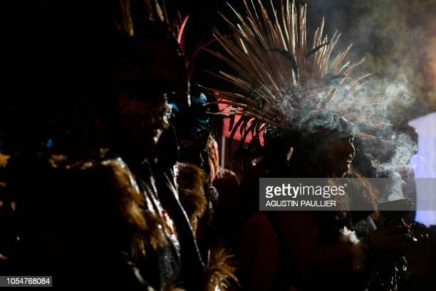 Aztec ritual dancers perform at Hollywood Forever Cemetery during the cemetery's 19th annual Dia De Los Muertos celebration in Hollywood California...