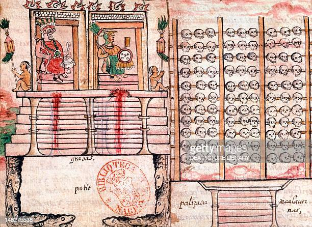 Aztec sacrificial altar and Tzompantli with skulls miniature from a Spanish manuscript 16th Century Aztec Civilization Madrid Biblioteca Nacional