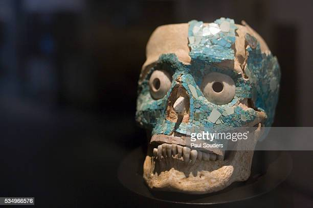 aztec skull mask - aztec mask stock pictures, royalty-free photos & images